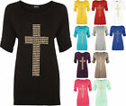 New Plus Size Womens Flared Cross Stud Short Sleeve Scoop Ladies Tunic Top 14-28