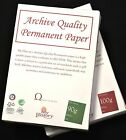 A4 Archival Quality Paper (ISO 9706) 90 or 100 gsm White,Cream,Parchment.