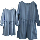 Vintage shirring 3/4 length sleeve soft denim dress - d108