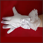 New Wedding Party school perform Children's Kids gloves White Bow etiquette lace