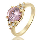 Lady Fashion Jewelry 18K Yellow Gold Plated Gp Cocktail Gem Ring Size 6 7 8
