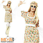 Flower Power Hippy Fancy Dress Ladies 1960s-1970s Womens Hippie 60s 70s Costume