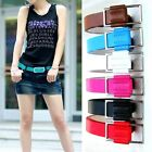 Women Korean Simple Fashion Candy Color Wide Skinny PU Leather Belt Waistband