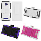For HTC 8X Windows Phone Cover Impact Rhino Kickstand Hard Soft Holster Case