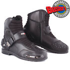Tuzo Motorcycle Paddock Boot Short Black Leather Ankle Waterproof Scooter Boots