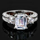 18k White Gold Plated Emerald Cut Swarovski Crystal Wedding Engagement Ring R27