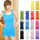 HOT SELL Sexy Women's Candy Color Vest Dress Long T-Shirt Sleeveless Tank Top
