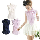New Lady OL Elegant Bowknot Stand Collar Sleeveless Flounced Chiffon Blouse