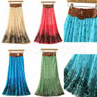 New Elastic Waist Belt Pleated Floral Print Chiffon Long Skirt Maxi Dress Q359