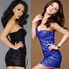 Sexy Womens Sequins Party Show Dance Cocktail Spaghetti Strap Mini Dress 8 Color