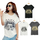 Retro Punk Rock Rivet Sexy Lips Black Gray White Color T-Shirt Top Blouse Vest