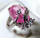 Pink Cubic Zirconia 18KWGP Crystal Ring Size: 6.7.8.9
