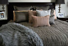 BERKEY Grey Charcoal Textured Quilt Cover Set QUEEN KING Eurocases Cushion