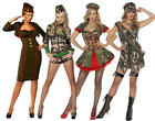Sexy Army Military Girls Fancy Dress Outfit Ladies Uniform Costume + Hat, Tights