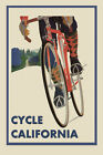Riding Bicycle Bike Cycles California Sport Tourism Vintage Poster Repro FREE SH