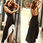 Womens U Neck Backless Long Swallow Tail Sleeveless Irregular Cocktail Dress