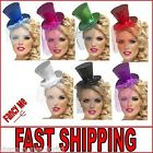 Ladies Glittery Pink Red Silver Black Blue Green Purple Mini Top Hat with Veil