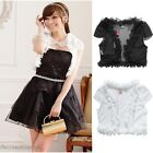 Cute Mini Ruffle Sheer Cap Sleeve Stretchy Shrug Cover Up Summer Top UJ9304