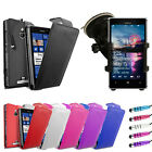 Leather Flip Series Case Cover - In Car Phone Holder For Nokia Lumia 925