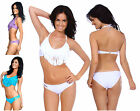 Fashion Sexy Padded Boho Fringe Bandeau Halter Two Piece Bikini Bathing Suit