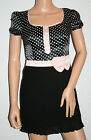 159. MA Black Polka Dot Summer Dress Size UK 6 New