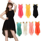 Chiffon Asymmetry Hem Crew Neck Glitter Sequinned Shoulder Summer Dress Sundress