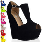 New Womens T-bar Peep Toe Ladies Platform Wedge High Heel Party Shoes Size 4-9