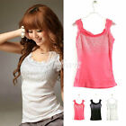 Casual Rhinestone Sequin Decoration Camisole Cami Lace Tank Top Shirt