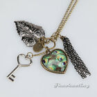Steampunk Vintage Women's Peacock Feather Leaf Tassel Charm Necklace Coat Chain
