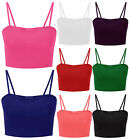 New Ladies Plain Strappy Sleeveless Crop Top Womens Vest Bralet Top Size 6-12
