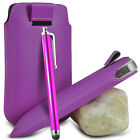 VARIOUS PHONES PURPLE PULL TAB LEATHER POUCH CASE COVER W/ BIG STYLUS PEN
