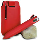 RED PULL TAB POUCH CASE W/ RETRACTABLE MINI STYLUS PEN FOR MOST PHONES