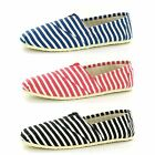 MENS STRIPED CANVAS SLIP ON SHOE AVAILABLE IN BLACK, RED & BLUE STYLE  -  A1079