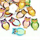 Wholesale Mixed Colour Barn Owl Bird Wooden 2 Hole Sewing Buttons Scrapbooking