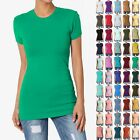 TheMOGAN Women's Basic Plain T SHIRT CREW Neck Short Sleeve STRETCH Cotton Tee