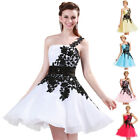 Leaf Black White Bridesmaids Formal Prom Ball Gown Evening Party Short Dresses