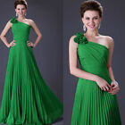 Hot Sexy One Shoulder Pleated Gowns Prom Evening Formal Party Long Maxi Dress