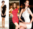 Sexy Lady Draped One Shoulder Tassel Cocktail Party Mini Dress Sleeveless M0634