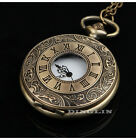 Vintage Flower Engraved Cute Pendent Fob Pocket Watch Charm Necklace Coat Chain