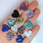 300Pcs 16*16mm Color AB Mini Faceted Flatback Sew On RESIN Heart Stones