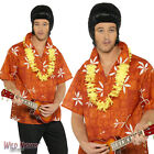 "FANCY DRESS COSTUME # MENS 1960s ELVIS BLUE HAWAII MOVIE RED SHIRT SIZE 38""-44"""