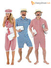 1920s Bathing Suit + Hat Mens Ladies Fancy Dress Adult Beach Swimming Costume