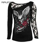 SPIRAL DIRECT Ladies Black Goth ASCENSION Lace Top L/Sleeve All Sizes