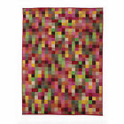 Retro Funky Pixel Multi Flair Rugs Modern Hard Wearing Red Brown Oblong Rug