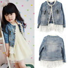 Girls Kids Jean Coat Jacket Outwear Denim Top Button Lace Button Outfits 2-7T
