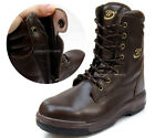 New Men Leather Safety Work Boots Steel Toe Cap Dark Brown Made in Korea