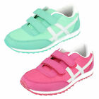 Girls Spot On rip tape strap textile trainer H2276 available Green/Black/Pink
