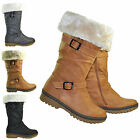 NEW WOMENS FAUX FUR LADIES BUCKLE GRIP SOLE CALF WINTER BOOTS SHOES SIZE 3-8 UK