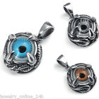 Mens Women Stainless Steel Biker Eye Pendant+Chain 500mm Necklace Gift Jewelry