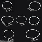 4 PCs Lobster Clasp Snake Chain European Charm Bracelets Silver Plated M1393